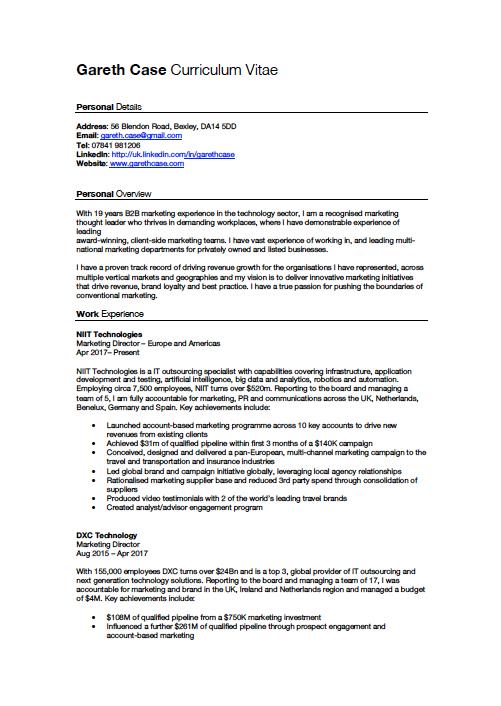 Gareth Case CV